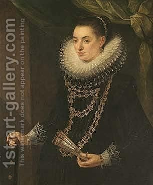Portrait Of A Lady, Three-quarter Length, Wearing Black And Holding A Fan, Standing Before A Draped Green Curtain by (after) Cornelis De Vos - Reproduction Oil Painting