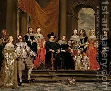 A Family Portrait by Gonzales Coques - Reproduction Oil Painting