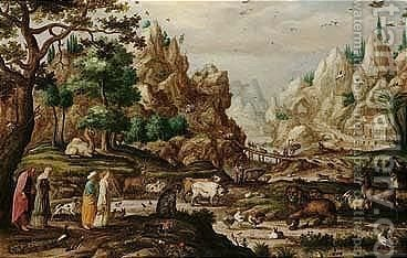 A rocky landscape with noah and the animals entering the ark by (after) Jacob II Savery - Reproduction Oil Painting