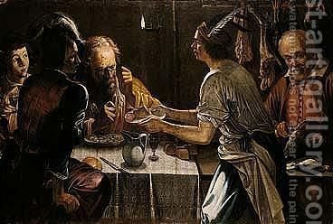 Interior with various figures at a meal by candlelight by (after) Michelangelo Merisi Da Caravaggio - Reproduction Oil Painting