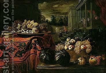 A Still Life Of Glaciered Fruit On A Table Covered With An Oriental Carpet, A Basket Of Fresh Fruit In A Wicker Basket, Melons And Pomegranates On Another Table Nearby, Figures Preparing For A Banquet In A Country Villa Beyond by (after) Pier Francesco Cittadini - Reproduction Oil Painting