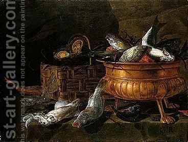 Still Life Of Oysters In A Basket, Fish In A Brass Bowl, And Squid And Other Fish Arranged On A Ledge by Giuseppe Recco - Reproduction Oil Painting