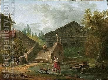An Architectural Capriccio Of A Classical Temple, With A Maid Descending A Staircase, Another Maid And A Child Standing In A Pool, A Dog Nearby by Hubert Robert - Reproduction Oil Painting