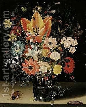 Still life of tulips, carnations, daisies, irises, narcissi, lily of the valley and other flowers in a glass vase by (after) Peter Paul Binoit - Reproduction Oil Painting