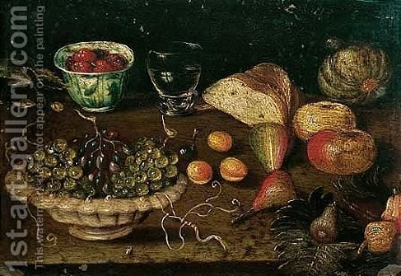 Still life of a bowl of grapes and raspberries in a blue and white cup, together with other fruits by (after) Osias, The Elder Beert - Reproduction Oil Painting