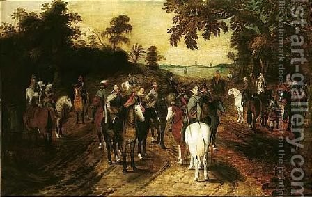 A Landscape With Mounted Soldiers At The Edge Of A Wood by (after) Sebastiaen Vrancx - Reproduction Oil Painting