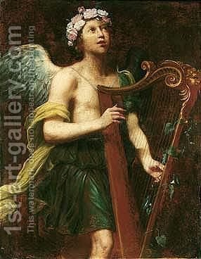 An angel playing the harp 2 by (after) Guido Cagnacci - Reproduction Oil Painting