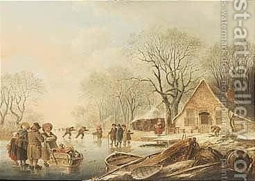 A Frozen River With Figures Skating And Conversing Before A House by (after) Andries Vermeulen - Reproduction Oil Painting