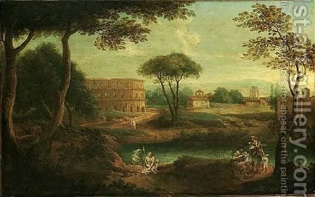 A view of the roman campagna, with figures beside a river, an amphitheatre beyond by (after) Giovanni Battista Busiri - Reproduction Oil Painting
