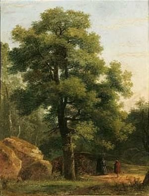 Reproduction oil paintings - Jean-Victor Bertin - A Wooded Landscape With Travellers Resting Beneath A Tree