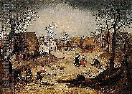 A Village Scene With Figures Chopping And Collecting Firewood In The Foreground, Other Villagers Gathered Outside A Cottage Beyond by Abel Grimmer - Reproduction Oil Painting