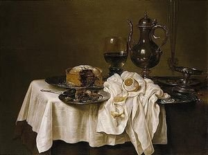 Still Life With A Roemer, A Silver Tazza, A Knife And A Sliced Lemon On A Pewter Plate, A Pie On A Pewter Plate, A Flute, Wine-glass And A Silver Pitcher, Together With A Lemon, All Arranged On A Table