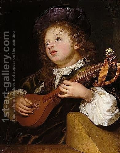 A Boy Playing The Cittern by Godfried Schalcken - Reproduction Oil Painting