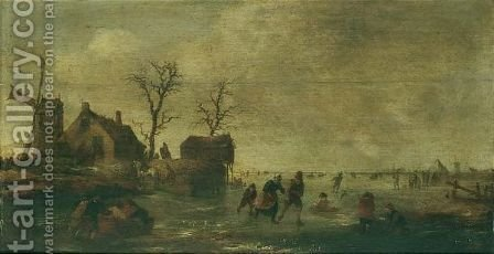 A Winter Landscape With Skaters And Other Figures On A Frozen River Beside A Windmill And Cottages by (after) Claes Molenaar (see Molenaer) - Reproduction Oil Painting