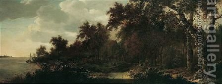 A Wooded Landscape With A Riverside Village by Adriaen Hendricksz Verboom - Reproduction Oil Painting