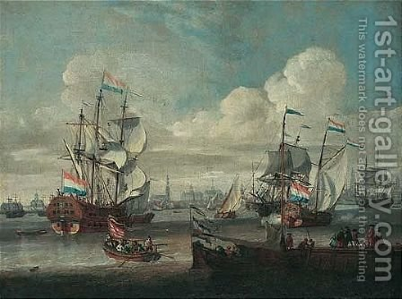 The Port Of Amsterdam With Shipping On Choppy Seas by Abraham Jansz Storck - Reproduction Oil Painting
