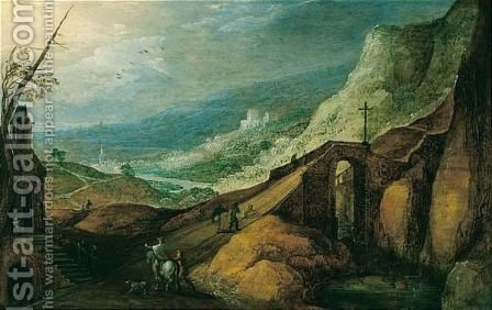 A Rocky River Landscape With Travellers Crossing A Bridge Near A Chapel by (after) Joos De Momper - Reproduction Oil Painting