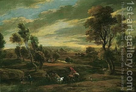 An extensive landscape at sunset with a herdsman driving his cattle across a ford by (after) Sir Peter Paul Rubens - Reproduction Oil Painting