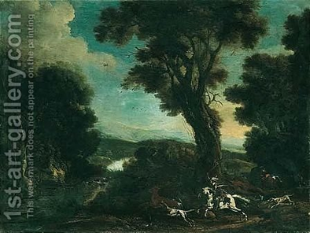 An extensive river landscape with horsemen and their hounds hunting a stag by (after) Michaelanglo Cerquozzi - Reproduction Oil Painting