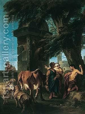 Herdsmen With Their Cattle And Sheep Resting Before A Funerary Monument, A Church Tower Beyond by (after) Andrea Locatelli - Reproduction Oil Painting