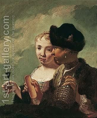 A Young Couple Drinking Wine by (after) Domenico Maggiotto - Reproduction Oil Painting