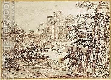 Figures In A Landscape by Giovanni Francesco Grimaldi - Reproduction Oil Painting