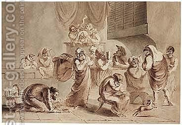 Pen And Brown Ink And Brown And Grey Wash by Italian School - Reproduction Oil Painting