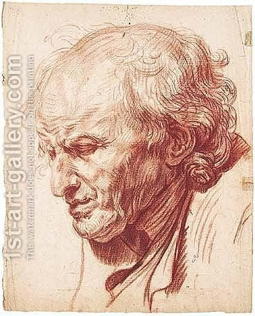 Study of the head of an old man by (after) Greuze, Jean Baptiste - Reproduction Oil Painting
