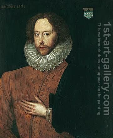 Portrait Of Sir Thomas Smith, Hatherton, Cheshire by (after) Sir William Segar - Reproduction Oil Painting