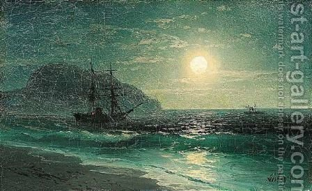 Ships in the moonlight by Ivan Konstantinovich Aivazovsky - Reproduction Oil Painting