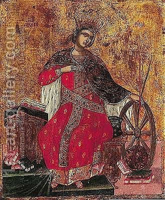 Shown Seated On Elaborate Throne, Holding The Her Wheel, With Below Symbols Of Her Learning, Books And Astralabe, Gold Ground by - Unknown Painter - Reproduction Oil Painting