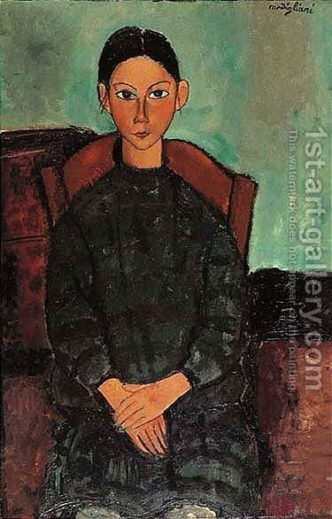 Fillette Assise En Robe by Amedeo Modigliani - Reproduction Oil Painting