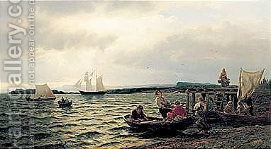Fiskere Som Bringer Fangsten I Land (Landing The Catch) by Hans Fredrik Gude - Reproduction Oil Painting