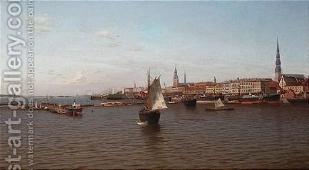 View Of Old Riga by (after) Ivan Konstantinovich Aivazovsky - Reproduction Oil Painting