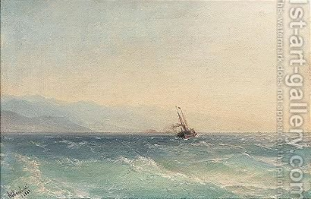 A steamship off the coast by Ivan Konstantinovich Aivazovsky - Reproduction Oil Painting