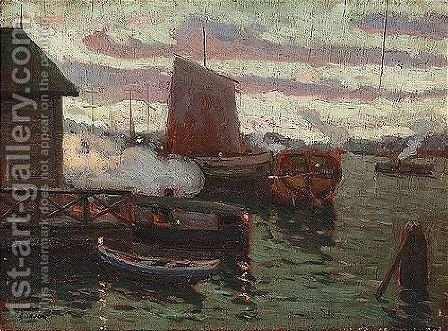 Dusk over the harbour by Aleksandr Fedorovich Bely - Reproduction Oil Painting