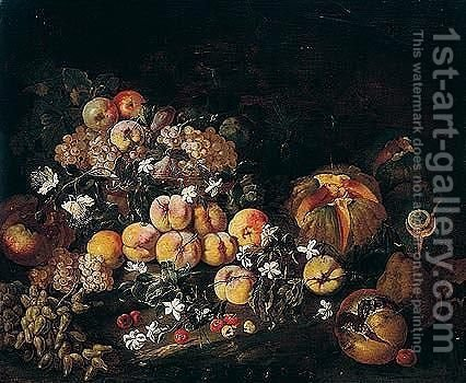 Still Life Of Grapes, Apples And Plums In A Glass Bowl, Together With Melons, Pomegranates And Cherries In A Landscape by Giovanni Paolo Castelli  (lo Spadino) - Reproduction Oil Painting