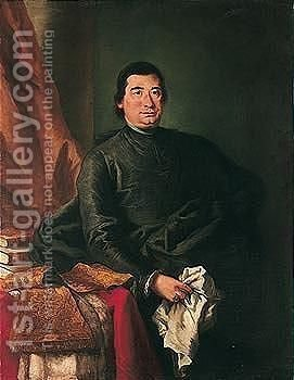 Portrait Of A Prelate, Three-quarter Length, Seated, Holding A Handkerchief, Beside A Table With His Cassock And Books by (after) Mauro Gandolfi - Reproduction Oil Painting