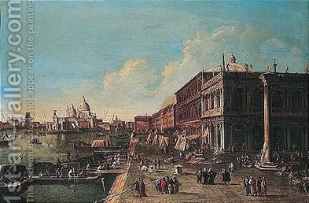 Venice, a view of the molo looking west towards the entrance to the grand canal and santa maria della salute by (after)(Giovanni Antonio Canal) Canaletto - Reproduction Oil Painting