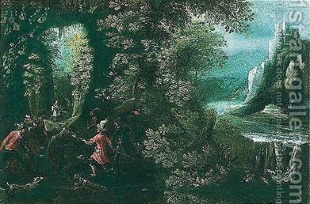 A wild boar hunt with dogs in a forest by a waterfall by (after) Lodovico Pozzoserrato (see Toeput, Lodewijk - Reproduction Oil Painting