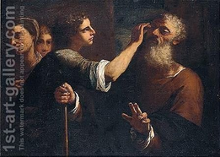 Tobias Curing The Blindness Of Tobit by (after) Luca Giordano - Reproduction Oil Painting