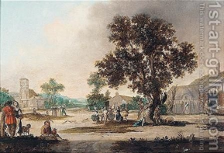 A village scene with figures dancing under an oak tree by (after) Esaias Van De Velde - Reproduction Oil Painting