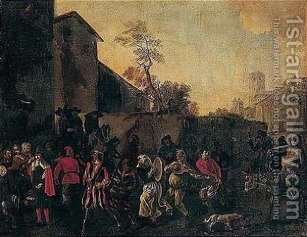 A town scene with figures in a carnival procession by (after) Jan Miel - Reproduction Oil Painting