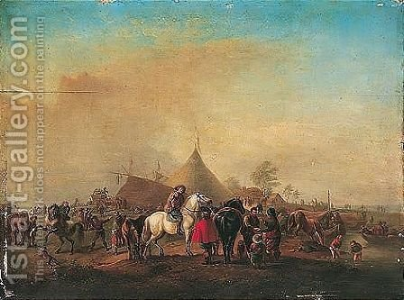 A military encampment with horsemen and other figures beside a river by (after) Philips Wouwerman - Reproduction Oil Painting