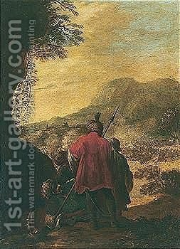 A Group Of Soldiers Resting On A Hillside by (after) Antonio Calza - Reproduction Oil Painting