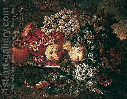 Still life of peaches, pomegranates and grapes upon a pewter plate by (after) Abraham Brueghel - Reproduction Oil Painting