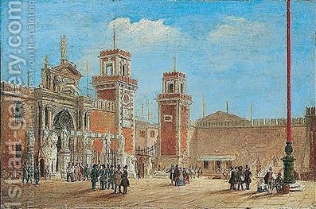Venice, the entrance to the Arsenal by Italian School - Reproduction Oil Painting