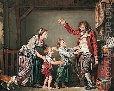 l'Ivrogne Chez Lui by (after) Greuze, Jean Baptiste - Reproduction Oil Painting