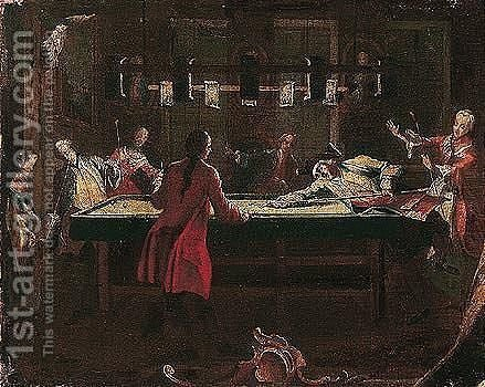 Elegant figures playing billiards by candle-light by (after) Longhi, Pietro - Reproduction Oil Painting