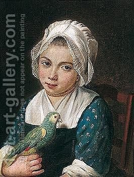 A Young Girl Holding A Green Parrot by (after) Antoine Raspal - Reproduction Oil Painting